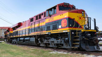 Kansas City Southern de Mexico railroad locomotive parked in Forth Worth, Texas on May 11, 2017