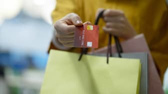 Shopping with a rewards credit card.