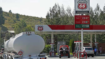 JACKSON, WY - AUGUST 20: A gas truck sits on standby at a Phillips 66 gas station in case of any gas shortages on August 20, 2017 in Jackson, Wyoming. People are flocking to the Jackson and T