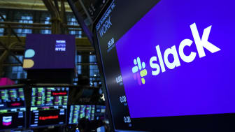 NEW YORK, NY - JUNE 20: The logo for Slack is displayed on a trading post monitor at the New York Stock Exchange (NYSE), June 20, 2019 in New York City. The workplace messaging app Slack will