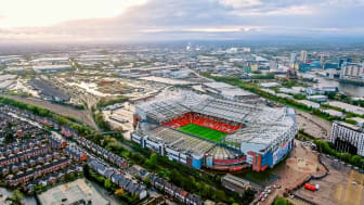 UK, Manchester - August 07, 2017: Old Trafford is a football stadium Greater Manchester England and the home of Manchester United. Aerial View of Iconic Football Ground