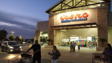Exterior of a Costco store at night