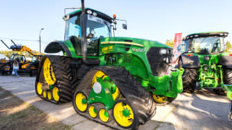 Samara, Russia- September 23, 2017: Rubber track John Deere 7830 agricultural tractor on display at the annual Volga agro-industrial exhibition