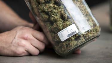 A jar of commercial marijuana