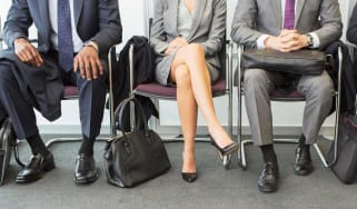 Job candidates wait to be interviewed.