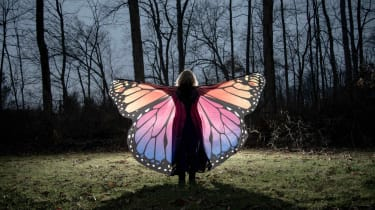 A woman wears butterfly wings in a dark forest.