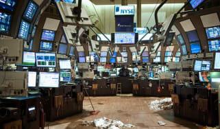 Empty NYSE trading floor