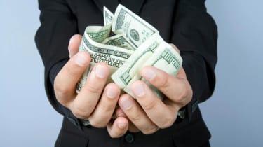 Hands holding money.