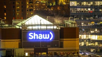 Calgary, Alberta. Canada Dec 28 2019. Shaw Communications telecommunications company sign from the top of a building location at Calgary. Shaw warns customers of data breach. illustrative.
