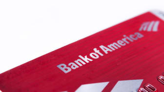 Charlotte, NC, United States of America - June 26, 2015: Bank of america debit card close up on isolated on white background. Selective focus color image with shallow depth of field in horizo