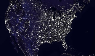 satellite image of the U.S. at night