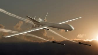 Drone attack. Unmanned Aerial Vehicle (UAV), also known as Unmanned Aircraft System (UAS) - 3d rendered image