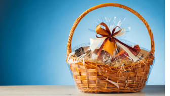 An unopened holiday gift basket