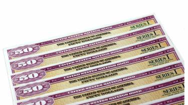 A stack of US Savings Bonds Series I