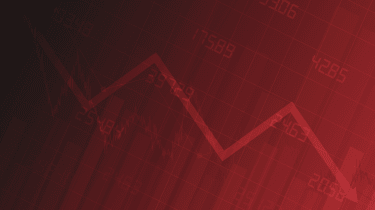 Business chart with downtrend line graph, bar chart and stock numbers in bull market on gradient red color background (vector)