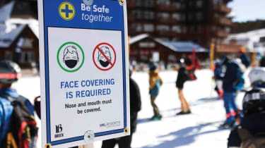 Photo of COVID-19 safety guidance at ski area