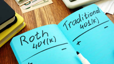 A notebook with Roth 401(k) on one side and traditional 401k on the other.