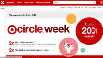Screenshot of Target home page