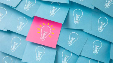 post it notes with light bulb, concept for bright idea