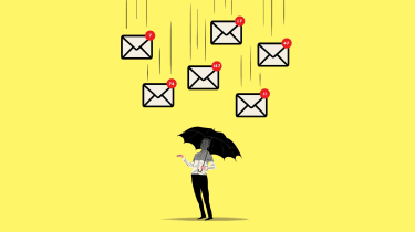 illustration of debt mail falling on person with umbrella