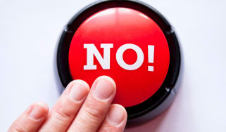 """Someone pushes a red button that is labeled """"No!"""""""