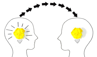 Drawing of the outline of two heads with light bulbs inside