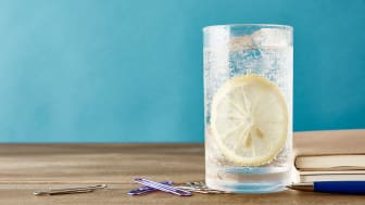 Sparkling water and lemon on office wooden desk table.
