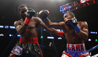NEW YORK, NY - OCTOBER 14:Erislandy Lara punches Terrell Gausha during their WBA Junior Middleweight Title bout at Barclays Center of Brooklyn on October 14, 2017 in New York City.(Photo by A
