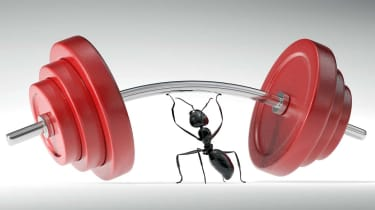 An ant lifting heavy weights. Very high resolution 3D render.