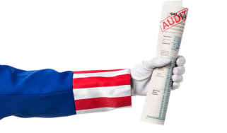 "picture of Uncle Sam holding paper with ""audit"" stamped on it"