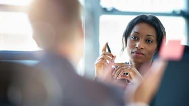 A woman attends a work meeting