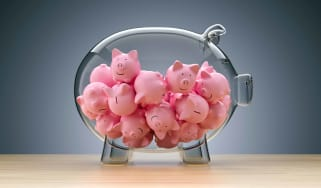 clear piggy bank filled with small plastic pigs