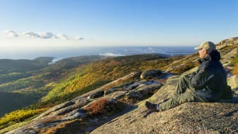 A man sits on a mountain top looking at the Maine coastline