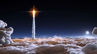 A space rocket ascends above a cloud line