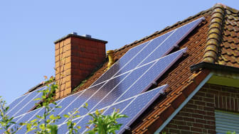Germany, North Rhine-Westphalia, Minden, Roof with photovoltaic installation