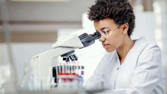 scientist looking through microscope