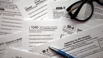 US tax forms background. Financial or business concept