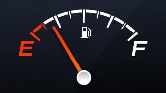 The needle on a car's gas gauge nears empty.