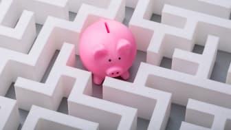 A piggy bank in a complicated maze.