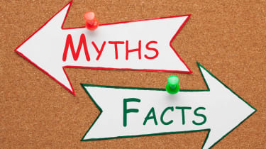 Arrows labeled Myths and Facts point in opposite directions.