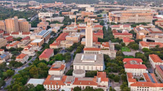 University of Texas Austin campus aerial view from Helicopter