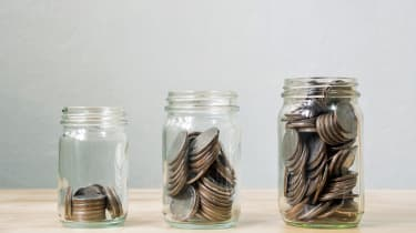 Coin in jar step growing up, Concept save money or investment financial