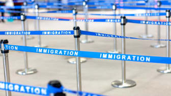 picture of line dividers at immigration office