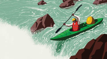 Illustration of a kayaker going over a waterfall with a gold next egg