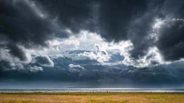 Dark clouds in a stormy sky
