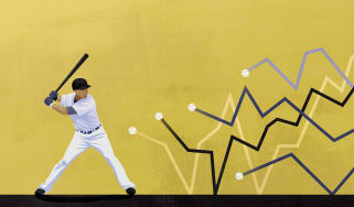 Baseball player hitting the stock chart lines