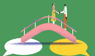 Illustration of two people on a footbridge negotiating and shaking hands