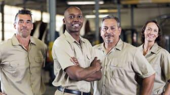 Workers in uniforms