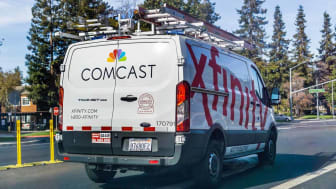 November 4, 2018 Sunnyvale / CA / USA - Comcast Cable / Xfinity service van driving on the street. Comcast is the largest home internet service provider in the United States.