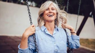 A woman on a swing